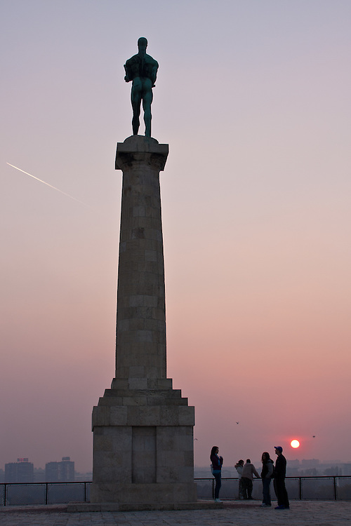 The Pobednik, or Messenger of Victory Monument, Kalemegdan Park, Belgrade, Serbia. The landmark statue by Ivan Mestrovic was built in 1928. It is a popular spot in Belgrade to watch the sunset over the Sava River.