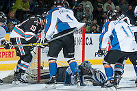 KELOWNA, CANADA - DECEMBER 2: Wyatt Hoflin #30 of Kootenay Ice makes a save against the Kelowna Rockets on December 2, 2015 at Prospera Place in Kelowna, British Columbia, Canada.  (Photo by Marissa Baecker/Shoot the Breeze)  *** Local Caption *** Wyatt Hoflin;