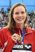 Kathleen Dawson of Great Britain posing with a team gold medal in the 4 x 100m Medley during day 14 of the 33rd  LEN European Aquatics Championship Swimming Finals 2016 at the London Aquatics Centre, London, United Kingdom on 22nd May 2016. Photo by Martin Cole.