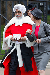 © Licensed to London News Pictures. 01/10/2013. London, UK. Rabinder Singh QC, the first ever Sikh High Court Judge, walks with other judges to the Houses of Parliament after a service to mark the start of the legal year held at Westminster Abbey in London today (01/10/2013). Photo credit: Matt Cetti-Roberts/LNP