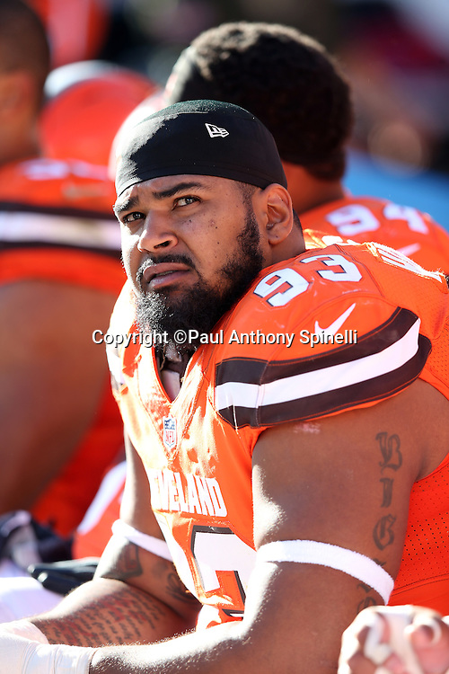 Cleveland Browns defensive end John Hughes III (93) looks on from the sideline during the 2015 week 8 regular season NFL football game against the Arizona Cardinals on Sunday, Nov. 1, 2015 in Cleveland. The Cardinals won the game 34-20. (©Paul Anthony Spinelli)