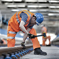Blackfriars Station , London - Fitting of noise damping system for railway track on the new Thameslink line.