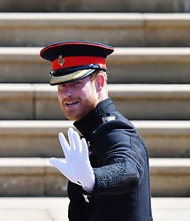 Prince Harry arrives at St George's Chapel at Windsor Castle for his wedding to Meghan Markle.