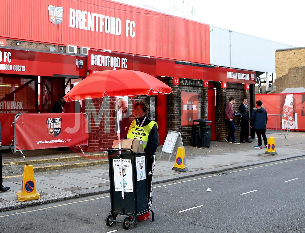 A programme seller outside Griffin Park, home of Brentford FC - Mandatory by-line: Robbie Stephenson/JMP - 05/04/2016 - FOOTBALL - Griffin Park - Brentford, England - Brentford v Bolton Wanderers - Sky Bet Championship