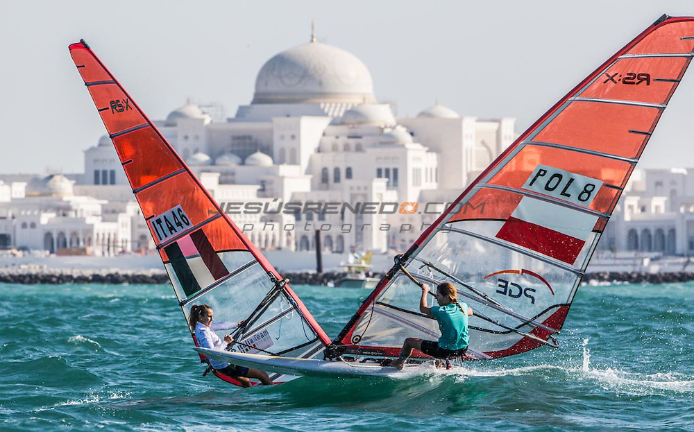 2014 ISAF Sailing World Cup Final, Abu Dhabi, United Arab Emirate.27TH NOVEMBER 2014 day 1 of racing. All ten Olympic sailing events are being contested in Abu Dhabi from with an open kiteboarding event joining the fray around Lulu Island off the UAE capital's stunning Corniche. Prize money will be awarded to the top three overall finishers in each of the Olympic events from a total prize purse of US$200,000. The Abu Dhabi Sailing and Yacht Club is the host of the ISAF Sailing World Cup Final with some technical facilities located at the adjacent Abu Dhabi International Marine Sports Club. The venue is located on the main island of the city with immediate access to the beautiful waters of the Arabian Gulf.