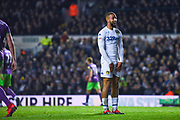 Kemar Roofe of Leeds United (7) shows a rife smile after a chance goes begging during the EFL Sky Bet Championship match between Leeds United and Bristol City at Elland Road, Leeds, England on 24 November 2018.