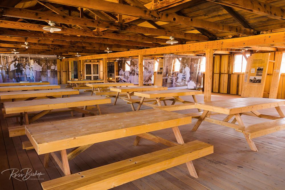 Mess hall interior at Manzanar National Historic Site, Lone Pine, California USA