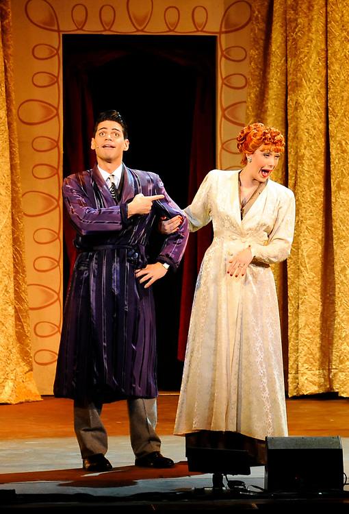 "Euriasmis Losada as Ricky Ricardo and Thea Brooks as Lucy Ricardo perform in ""I Love Lucy"" Live on Stage at the Hanover Theatre for the Performing Arts on Friday, March 6, 2015."