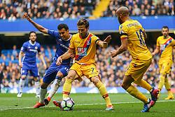 Yohan Cabaye of Crystal Palace holds back Pedro of Chelsea - Mandatory by-line: Jason Brown/JMP - 01/04/2017 - FOOTBALL - Stamford Bridge - London, England - Chelsea v Crystal Palace - Premier League