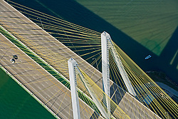 Abstract aerial view of the Fred Hartman Bridge at the Port of Houston