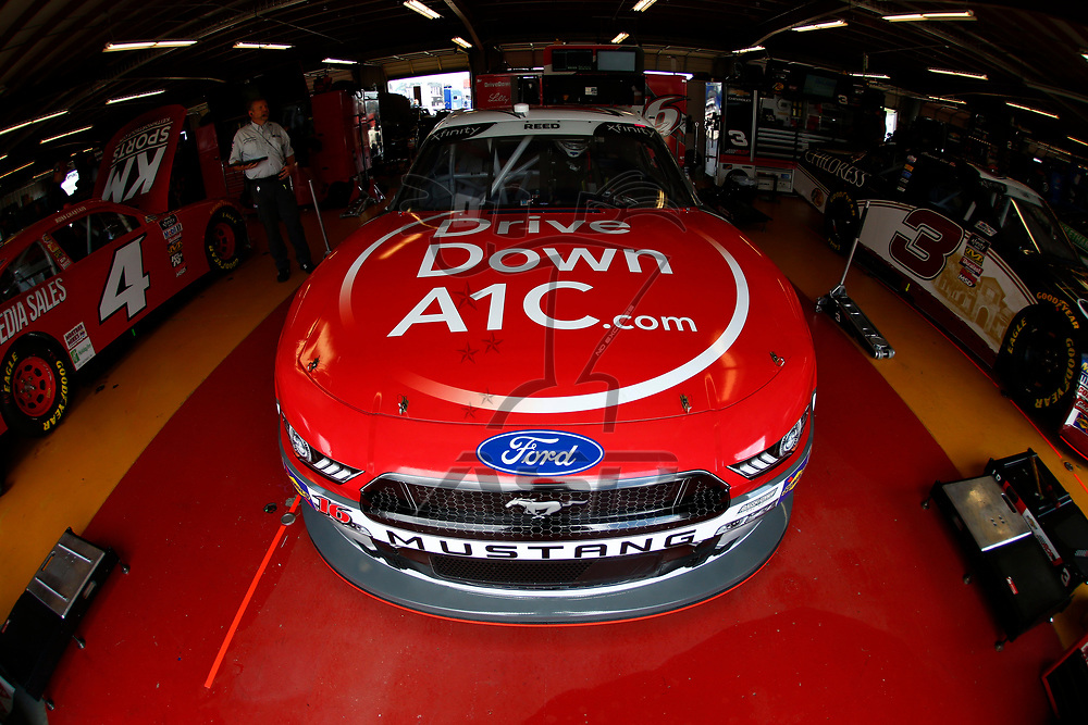 The car of Ryan Reed (16) sits in the garage before practice for the US Cellular 250 at Iowa Speedway in Newton, Iowa.