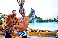 ORLANDO, FL - MAY 25:  New Zealand Maori indigenous pose during the new Volcano Bay Water Theme Park Grand Opening at Universal Orlando Resort on May 25, 2017 in Orlando, Florida.  (Photo by Gerardo Mora/IPAPHOTO.COM)