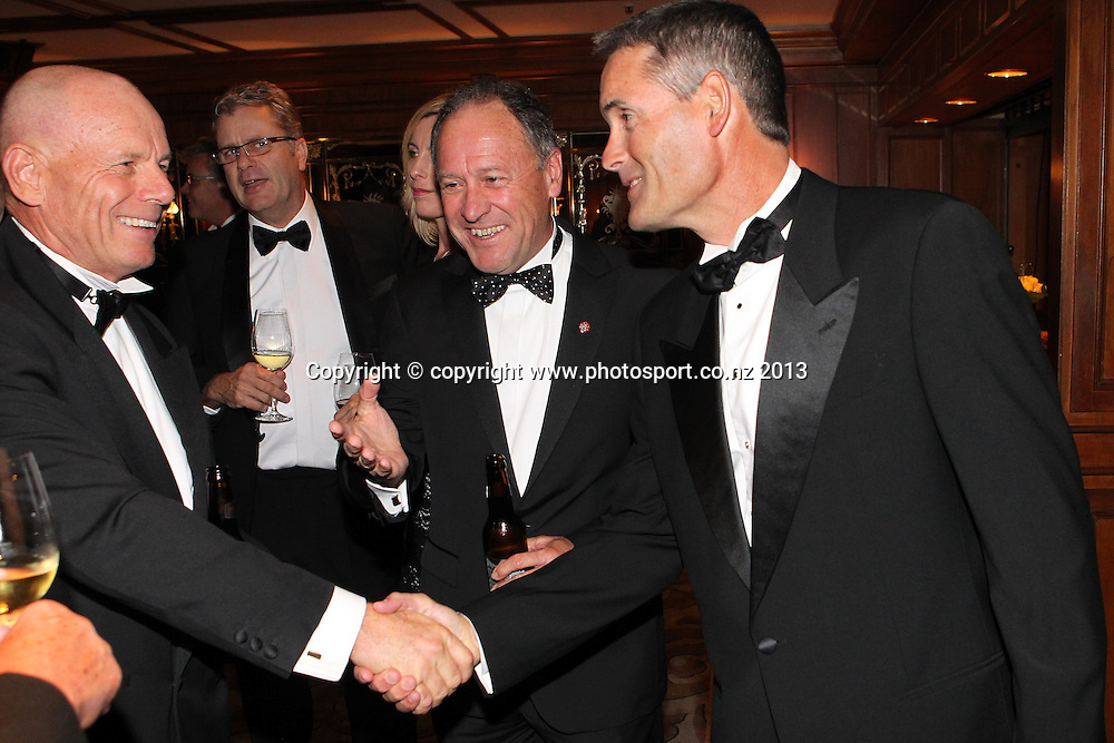 Grant Dalton, Ralph Norris and Sir Russell Coutts, right during an evening with Americas Cup yachtsmen Sir Russell Coutts and Grant Dalton at The Langham, Auckland, Friday May 3, 2013 to raise funds for David Barnes and Rick Dodson who suffer from multiple sclerosis ands plan to compete in the 2016 Paralympics in Rio. Photo: Fiona Goodall/photosport.co.nz