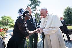 "21 June 2018, Geneva, Switzerland: On 21 June 2018, the World Council of Churches receives a visit from Pope Francis of the Roman Catholic Church. Held under the theme of ""Ecumenical Pilgrimage - Walking, Praying and Working Together"", the landmark visit is a centrepiece of the ecumenical commemoration of the WCC's 70th anniversary. The visit is only the third by a pope, and the first time that such an occasion was dedicated to visiting the WCC. Here, an ecumenical prayer service with religious leaders from all over the world. Here, Pope Francis is greeted Dr Agnes Abuom (Moderator of the WCC Central Committee, , Anglican Church of Kenya) as the Pope arrives at the Ecumenical Centre."
