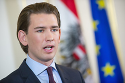 18.02.2014, Bundeskanzleramt, Wien, AUT, Bundesregierung, Pressefoyer nach Sitzung des Ministerrats, im Bild Bundesminister fuer europaeische und internationale Angelegenheiten Sebastian Kurz (OeVP) // Foreign Minister of Austria Sebastian Kurz (OeVP) during press foyer after council of ministers, Chancellors Office, Vienna, Austria on 2014/02/18, EXPA Pictures © 2014, PhotoCredit: EXPA/ Michael Gruber