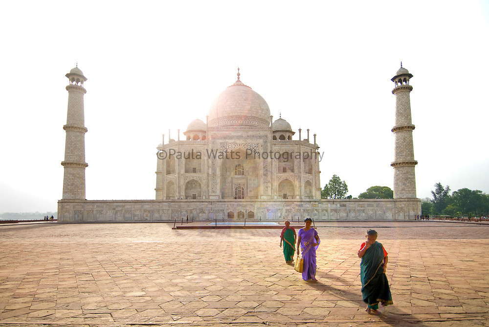 Unique side view of Taj Mahal with Indian Women in foreground