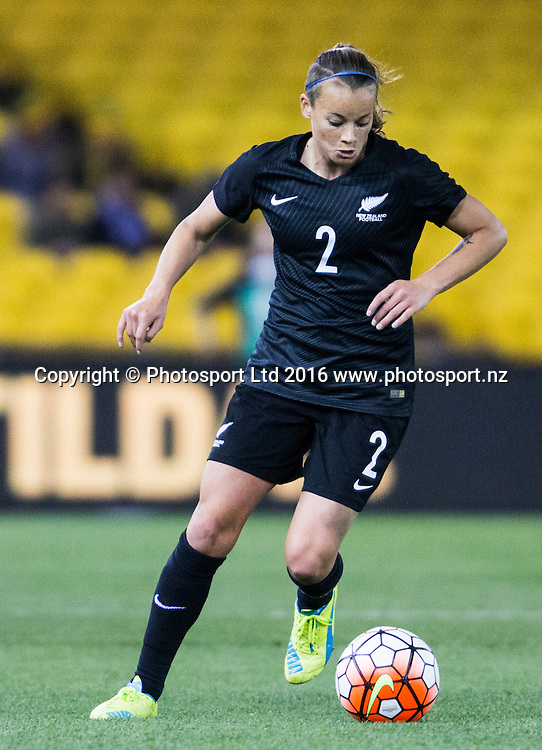 Ria Percival clears the ball during during the Australia Matildas vs New Zealand Football Ferns womens football international at Etihad stadium Melbourne Australia on the the 7th of June 2016. Brendon Ratnayake / www.photosport.nz