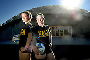 "(tigerscots to warriors dome-inate)  --  Teammates from Weston McEwen High School, Tiffany Cain (left) and Renee Baumann joined the Walla Walla Community College Warriors together and are ready to ""dome-inate"" with the team this year.        Thursday, August 25, 2011        MZ Photo"