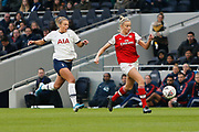 Leah Williamson and Rianna Dean chase the ball during the FA Women's Super League match between Tottenham Hotspur Women and Arsenal Women FC at Tottenham Hotspur Stadium, London, United Kingdom on 17 November 2019.