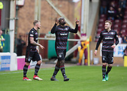28th April 2018, Fir Park, Motherwell, Scotland; Scottish Premier League football, Motherwell versus Dundee; Cedric Kipre of Motherwell celebrates after scoring for 2-1