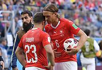 FUSSBALL  WM 2018  Achtelfinale  ------ Schweden - Schweiz   03.07.2018 Xherdan Shaqiri (li) und Michael Lang (re, beide Schweiz)