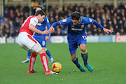 AFC Wimbledon midfielder Chris Whelpdale (11) battles for possession during the EFL Sky Bet League 1 match between AFC Wimbledon and Fleetwood Town at the Cherry Red Records Stadium, Kingston, England on 26 November 2016. Photo by Stuart Butcher.