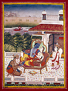 Indian miniature showing Krishna, winged attendant, and monkey god at his feet. Krishna (The Black One), an avatar of Vishnu.18th century. Museum of Decorative Arts, Paris