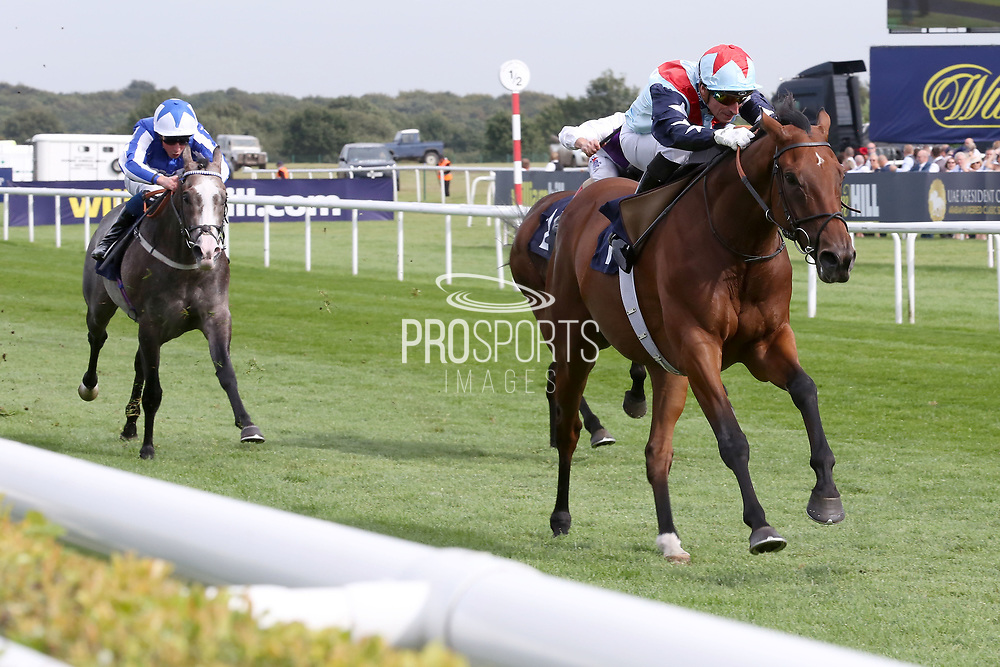 SIR DANCEALOT (1) ridden by Gerald Mosse and trained by David Elsworth winning The Group 2 Hird Rail Group Park Stakes over 7f (£108,150) during the fourth and final day of the St Leger Festival at Doncaster Racecourse, Doncaster, United Kingdom on 14 September 2019.