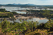 Orinoco River, seen from Cerro Perico in Puerto Ayacucho. Apure Province, VENEZUELA/COLOMBIA border. South America.<br /> The Orinoco is the 3rd longest river in S. America 2,200Km and the third largest in Volume in the world after the Amazon and the Congo Rivers. 1 200 000 cubic meters of water into the Atlantic Ocean through its huge deltas per year.