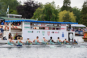 Henley on Thames, England, United Kingdom 6th July 2019, Saturday Semi-Final, Princess Elizabeth Challenge Cup, Eron hold a one length lead over Shiplake College as they pass the Progress Board, Henley Royal Regatta on Henley Reach, [© Peter SPURRIER/Intersport Image] 1919 - 2019, Royal Henley Peace Regatta Centenary,