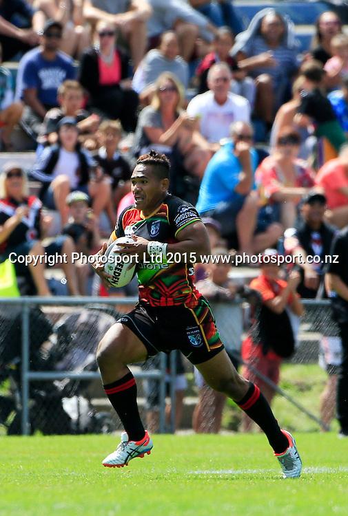 Warrior's Ngani Laumape makes a break. NRL trial match, Vodafone Warriors vs Penrith Panthers, International Stadium, Rotorua, New Zealand. Saturday, 14 February, 2015. Photo: John Cowpland / www.photosport.co.nz