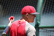ANAHEIM, CA - JUNE 5:  Mike Trout #27 of the Los Angeles Angels of Anaheim chats during batting practice before the game against the Chicago Cubs on Wednesday, June 5, 2013 at Angel Stadium in Anaheim, California. The Cubs won the game 8-6 in ten innings. (Photo by Paul Spinelli/MLB Photos via Getty Images) *** Local Caption *** Mike Trout