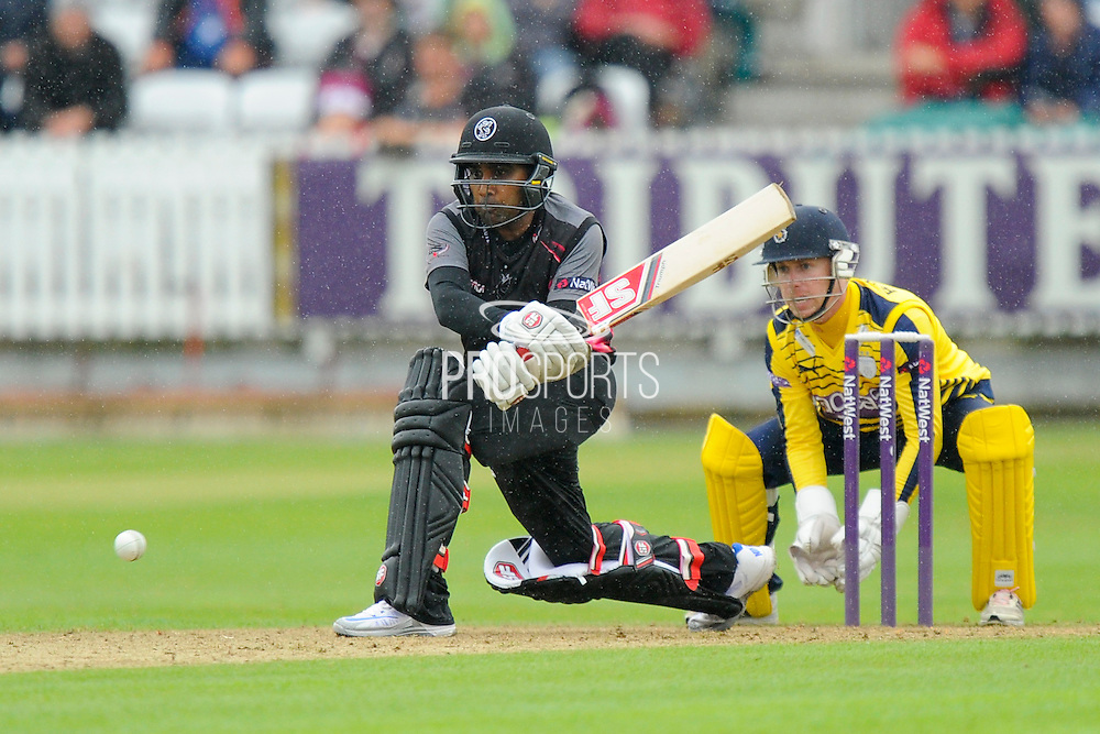 Somerset's Mahela Jayawardene during the NatWest T20 Blast South Group match between Somerset County Cricket Club and Hampshire County Cricket Club at the Cooper Associates County Ground, Taunton, United Kingdom on 19 June 2016. Photo by Graham Hunt.