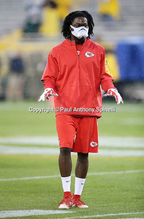 Kansas City Chiefs wide receiver Chris Conley (17) wears an elevation training mask while warming up before the 2015 NFL week 3 regular season football game against the Green Bay Packers on Monday, Sept. 28, 2015 in Green Bay, Wis. The Packers won the game 38-28. (©Paul Anthony Spinelli)