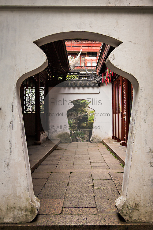 Archway between Sansui and Yangshan halls in Yu Yuan Gardens Shanghai, China