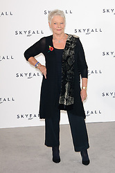 Judi Dench nominated  best leading actress for the Oscars 2014.<br /> Dame Judi Dench poses for photographers at the photocall for the 23rd James Bond movie 'Skyfall', London, Thursday November 3, 2011. Photo By i-Images