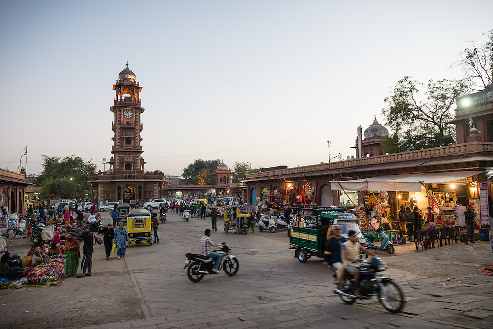 Clock Tower Market in Jodhpur at dusk