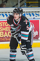KELOWNA, CANADA - NOVEMBER 21: Danny Gatenby #5 of Kelowna Rockets stands on the ice during warm up against the Vancouver Giants on November 21, 2015 at Prospera Place in Kelowna, British Columbia, Canada.  (Photo by Marissa Baecker/Shoot the Breeze)  *** Local Caption *** Danny Gatenby;