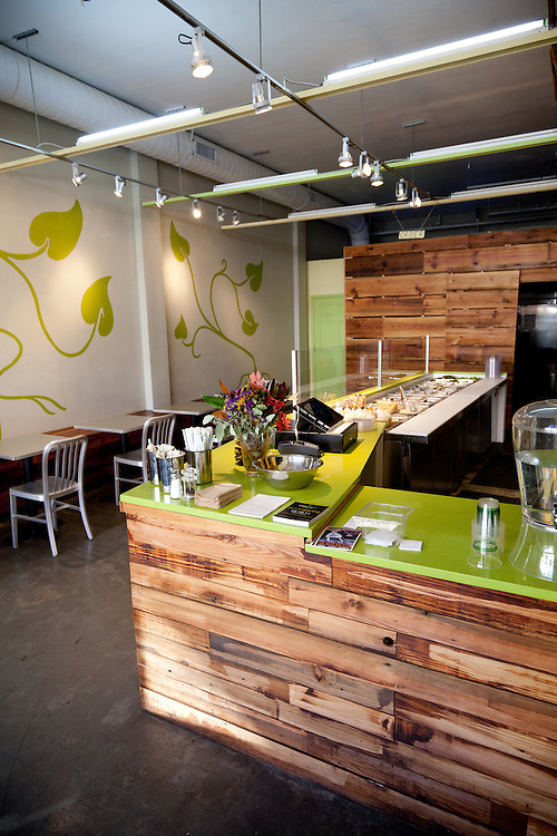 Interior shots of the Green Bean salad shop located in the Central West End neighborhood of St. Louis, MO.