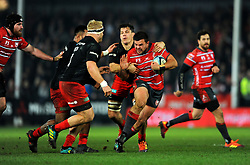 Franco Marais of Gloucester Rugby is tackled by Brad Barritt of Saracens - Mandatory by-line: Nizaam Jones/JMP - 22/02/2019 - RUGBY - Kingsholm - Gloucester, England- Gloucester Rugby v Saracens - Gallagher Premiership Rugby