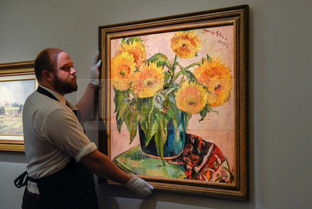 """© Licensed to London News Pictures. 12/05/2017. London, UK.    A technician hangs """"Sunflowers"""", 1942, by Irma Stern (South Africa) (Est.  GBP 350-550k) at the preview for the first sale dedicated to Modern and Contemporary African Art at Sotheby's New Bond Street.  The sale features over 115 artworks by over 60 different artists from 14 countries across the continent. Photo credit : Stephen Chung/LNP"""
