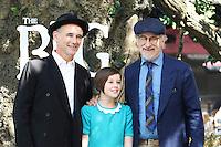 Mark Rylance, Ruby Barnhill, Steven Spielberg, The BFG - UK film premiere, Leicester Square Gardens, London UK, 17 July 2016, Photo by Richard Goldschmidt