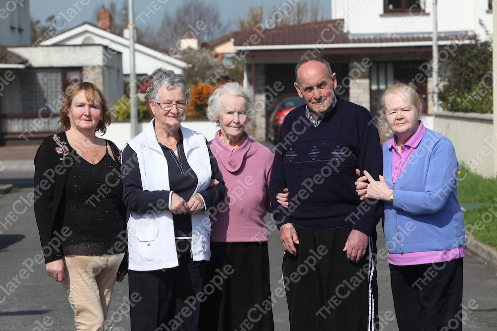 Pauline Cronin, Mai Farrell, Mary Moran, George Justice and Tess Barry pictured at the Shannon Senior Citizens Club on Monday.<br /> Pic. Brian Arthur/ Press 22.
