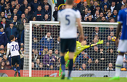 LONDON, ENGLAND - Sunday, March 5, 2017: Tottenham Hotspur's Dele Alli scores the third goal against Everton's goalkeeper Joel Robles during the FA Premier League match at White Hart Lane. (Pic by David Rawcliffe/Propaganda)