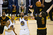 Golden State Warriors forward Kevin Durant (35) blocks a lay up by Cleveland Cavaliers forward Kevin Love (0) during Game 2 of the NBA Finals at Oracle Arena in Oakland, Calif., on June 4, 2017. (Stan Olszewski/Special to S.F. Examiner)