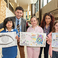 Annabelle Alvarex, Festival Director and Cllr Johnny Flynn, Mayor of Ennis with the Art competition winners, Liyanah Tuan, Juilanne McDonagh and Abbie Hoyne