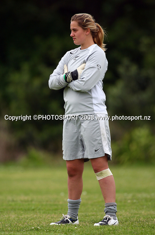 Junior Ferns keeper Victoria Esson. New Zealand U-20 Junior Football Ferns training session ahead of the FIFA U-20 Womens World Cup in Chile. Mt Smart Stadium, Auckland, New Zealand. 13 November 2008. Photo: Simon Watts/PHOTOSPORT