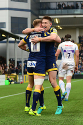 Perry Humphreys of Worcester Warriors celebrates scoring a try with Josh Adams of Worcester Warriors - Mandatory by-line: Dougie Allward/JMP - 18/02/2017 - RUGBY - Sixways Stadium - Worcester, England - Worcester Warriors v Exeter Chiefs - Aviva Premiership