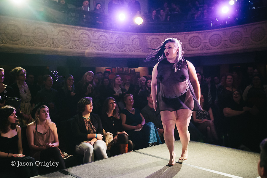Chubby Cartwheels at Unmentionable: A Lingerie Exhibition at the Mission Theater in Portland, OR. Feb. 8, 2017. Photo by Jason Quigley www.photojq.com