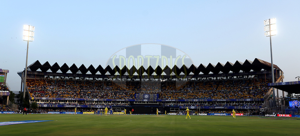 General view of the ground during match 15 of the Pepsi IPL 2015 (Indian Premier League) between The Rajasthan Royals and The Chennai Superkings held at the Sardar Patel Stadium in Ahmedabad , India on the 19th April 2015.<br /> <br /> Photo by:  Sandeep Shetty / SPORTZPICS / IPL
